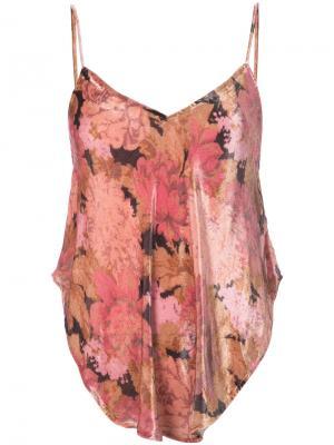 Топ с цветочным принтом Mes Demoiselles. Цвет: розовый и фиолетовый