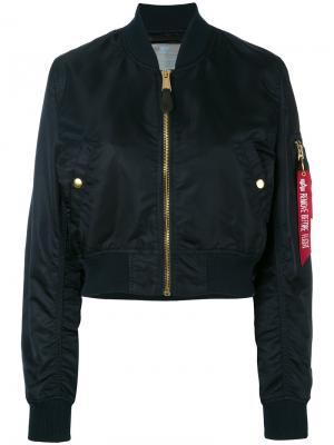 Укороченная куртка-бомбер Alpha Industries. Цвет: синий
