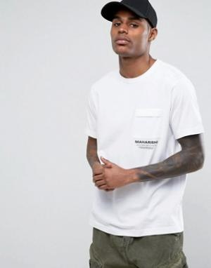 Maharishi Белая футболка с логотипом. Цвет: белый