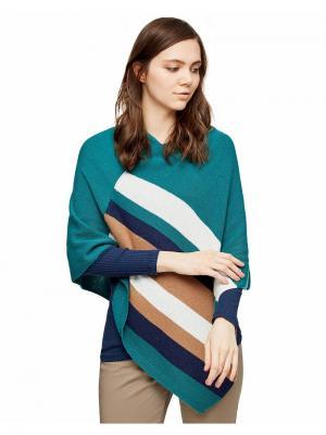 Пончо United Colors of Benetton. Цвет: зеленый