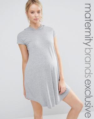 Club Lounge Maternity Трикотажное oversize-платье с капюшоном. Цвет: серый