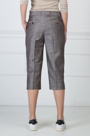 Укороченные брюки из вискозы и льна Giambattista Valli. Цвет: серый
