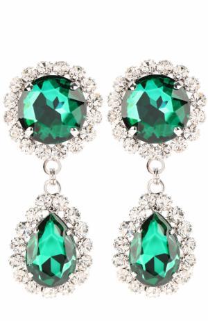Серьги-клипсы с кристаллами и стразами Alessandra Rich. Цвет: зеленый