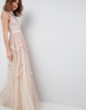 Needle & Thread Платье макси с блестящей отделкой. Цвет: розовый