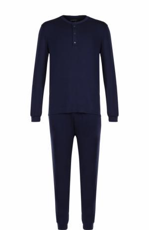 Пижама из вискозы с брюками Ermenegildo Zegna. Цвет: темно-синий