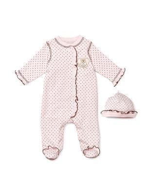 Комбинезон с шапочкой Розовый медвежонок Little Me. Цвет: розовый