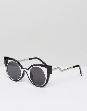 7X Солнцезащитные очки в массивной контрастной оправе. Цвет: черный