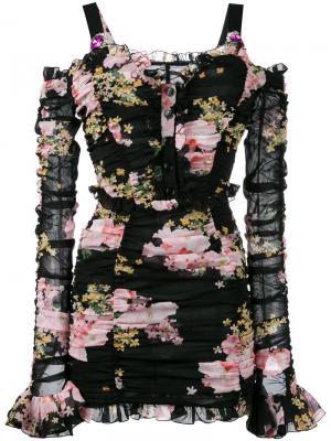 Платье с цветочным узором Alessandra Rich. Цвет: розовый и фиолетовый