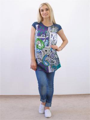 Блузка Адель. Цвет: синий, зеленый, темно-фиолетовый