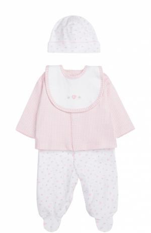 Пижама в комплекте с шапкой и нагрудником Kissy. Цвет: розовый