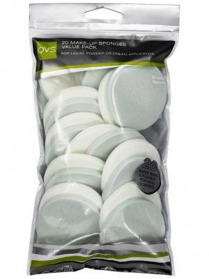 Спонжи для макияжа круглые QVS. Цвет: светло-зеленый, белый