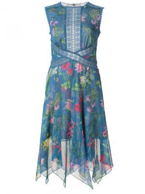 Платье с цветочным узором Tadashi Shoji. Цвет: синий