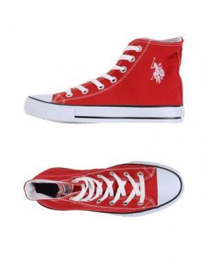 Высокие кеды и кроссовки DÉBUT. Цвет: красный