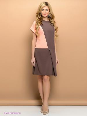 Платье ELENA FEDEL. Цвет: коричневый, бежевый