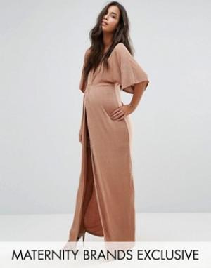 Missguided Maternity Платье макси для беременных с узелком спереди. Цвет: рыжий