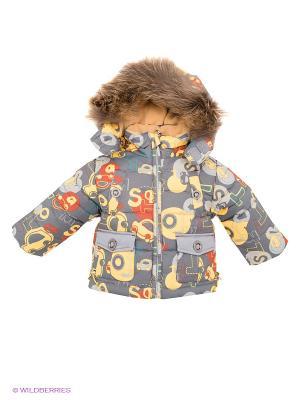 Куртка Baby Club. Цвет: темно-серый, желтый