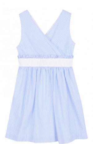Хлопковое платье с контрастным поясом и оборкой Caf. Цвет: голубой