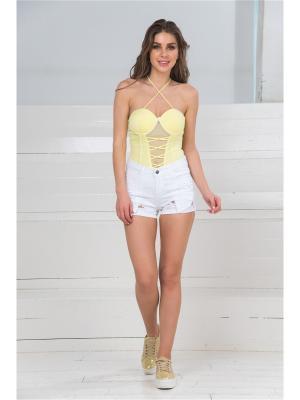 Блузка- боди MONDIGO. Цвет: светло-желтый