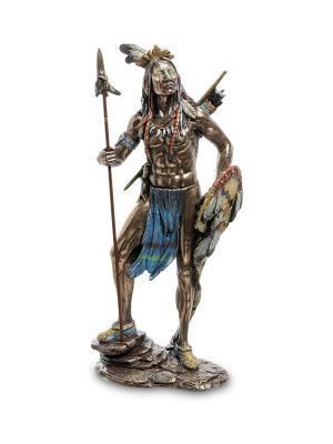 Статуэтка Индеец с копьем и щитом Veronese. Цвет: бронзовый