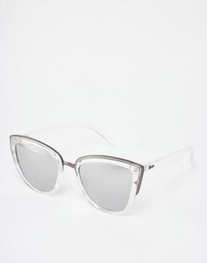 Quay Australia Прозрачные зеркальные солнцезащитные очки кошачий глаз. Цвет: прозрачный