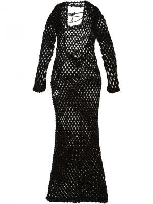 Длинное сетчатое платье Sibling. Цвет: чёрный