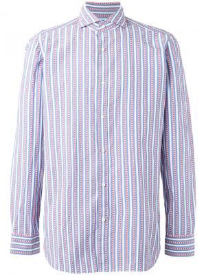 Полосатая рубашка Borrelli. Цвет: многоцветный