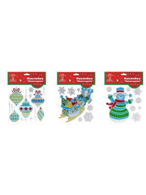 Наклейка ПВХ, 27,5х21,5см, Новогодняя мозаика, 6 дизайнов 3 штуки СНОУБУМ. Цвет: синий