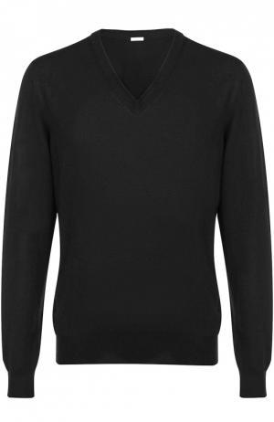 Шерстяной пуловер с V-образным вырезом malo. Цвет: черный