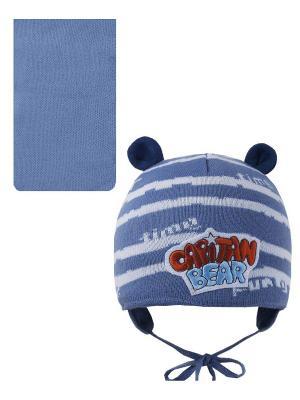Шапка, шарф Pro-han. Цвет: синий, белый