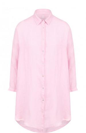 Однотонная льняная блуза свободного кроя 120% Lino. Цвет: розовый