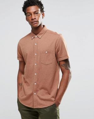 ASOS Трикотажная рубашка классического кроя. Цвет: коричневый