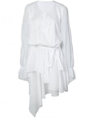 Асимметричное платье с драпировкой Alexandre Vauthier. Цвет: белый