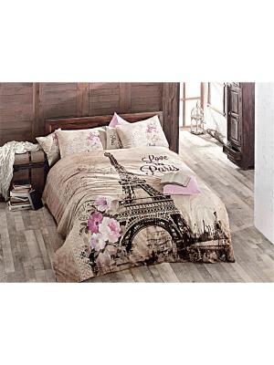 Комплект постельного белья PARIS КПБ Многоцветный, ранфорс, 145ТС, 100% хлопок, евро ISSIMO Home. Цвет: бежевый