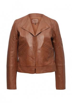 Куртка кожаная Sinequanone. Цвет: коричневый