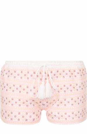 Мини-шорты с контрастной вышивкой Melissa Odabash. Цвет: белый