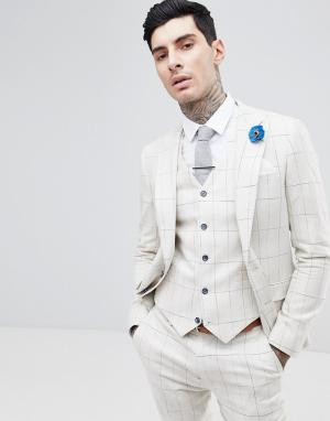 Gianni Feraud Приталенный пиджак в клетку. Цвет: кремовый