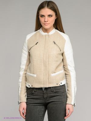 Куртка Camelot. Цвет: бежевый, белый