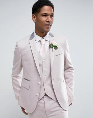 ASOS Розовый фактурный пиджак скинни WEDDING. Цвет: розовый