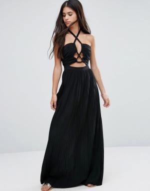 Pixie & Diamond Короткое приталенное платье с завязкой на шее и вырезами Diamo. Цвет: черный