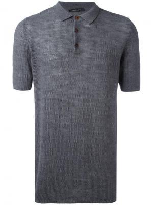 Классическая рубашка-поло Roberto Collina. Цвет: серый