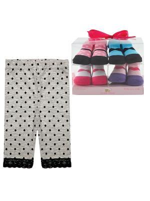 Комплект Лосины , 1 пара, + Носочки, 4 пары Luvable Friends. Цвет: розовый, черный, серый