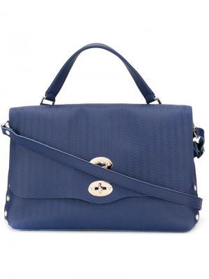 Средняя сумка-сэтчел Postina Zanellato. Цвет: синий