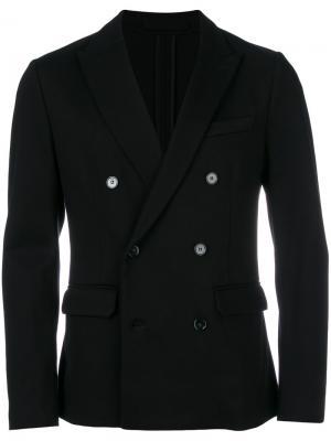 Приталенный двубортный пиджак Paolo Pecora. Цвет: чёрный