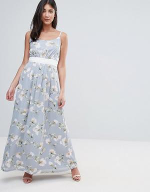 Uttam Boutique Платье макси с цветочным принтом и контрастным поясом. Цвет: зеленый