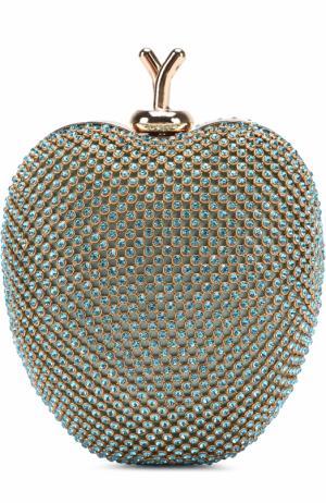 Клатч со стразами на цепочке David Charles. Цвет: голубой