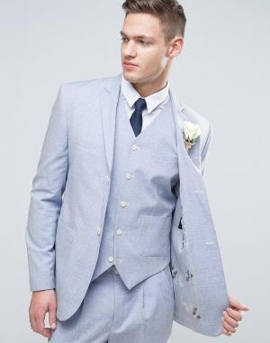 ASOS Узкий голубой пиджак с цветочным принтом на подкладке WEDDING. Цвет: синий