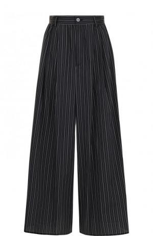 Широкие хлопковые брюки в полоску Mm6. Цвет: черно-белый