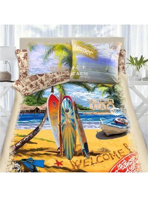Комплект постельного белья 1,5 сп MONA LIZA&SergLook Surf Liza. Цвет: бирюзовый, рыжий, светло-зеленый