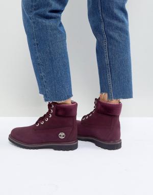 Timberland Бордовые ботинки на шнуровке 6 Inch Premium. Цвет: фиолетовый