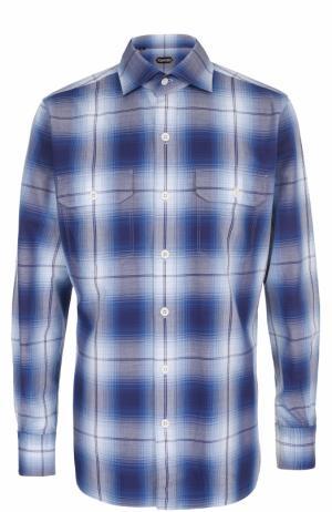 Хлопковая рубашка в клетку Tom Ford. Цвет: синий
